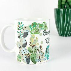 Taza cactus jardín desayuno cerámica buenos días guapetón para él hombres regalos mañanas san valentín día de los enamorados www.vagalumedesigns.com