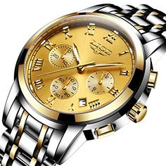 Affute Men's Gold Luxury Analog Quartz Dress Wrist Watch #mens #wristwatch #quartz #affute