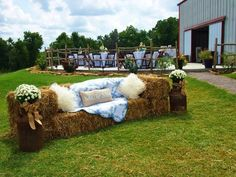 Blessed Oak Farm Wedding, Oklahoma wedding venue, Outdoor wedding, Hay bale seating, teal and orange wedding, rustic chic wedding, #BlessedOakFarm, #rusticchicwedding, #farmwedding