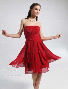 robe de cocktail, robe fille d'honneur, rouge, mousseline  http://www.robesoir.fr/robe-soir/665-knee-length-strapless-red-chiffon-a-line-hl-024.html#