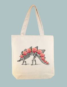 Stegosaurus Dinosaur Skeleton with Roses Vintage Composite Illustration Tote by Whimsybags, $12.00