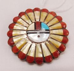 Zuni Sun Face Pin or Pendant