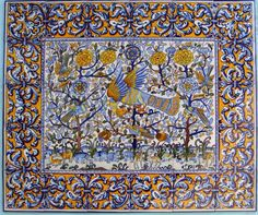 30 panel front of altar tiles fully colour painted by hand. Produced in factory Lamego Widow in the middle of the century XX.