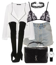 """Untitled #2392"" by theeuropeancloset on Polyvore featuring Levi's, MANGO, Stuart Weitzman, Yves Saint Laurent and Rosendahl"