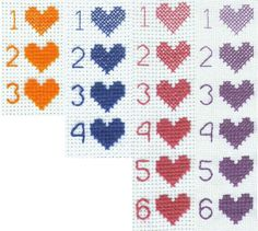 Floss coverage from left to right: 18-count, 14-count, 11-count, and 9-count (18-count over two threads). Get the full guide on Better Cross Stitch Patterns here.