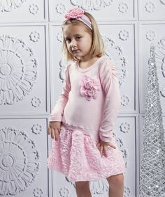 Another great find on #zulily! Pink Ruffle Rose Dress & Clip - Toddler by Mia Belle Baby #zulilyfinds