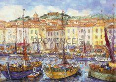 "Le Port de Saint Tropez (Ref/GIR026) by Philippe Giraudo - Reproduction 70 x 50 cm (19.75"" x 27.60"") - $ 24.99 Saint Tropez, Cannes, Meet The Artist, Reproduction, French Riviera, French Artists, Impressionist, Provence, Vivid Colors"