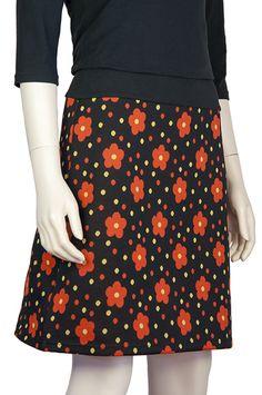 Zwart A-lijn rok met oranje bloemen, Pop Rok