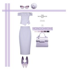 """""""Monochrome"""" by southindianmakeup1990 ❤ liked on Polyvore featuring Safiyaa, Manolo Blahnik, Delvaux and Versace"""