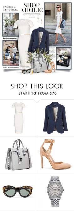 """""""Smile Everyday"""" by thewondersoffashion ❤ liked on Polyvore featuring Victoria Beckham, Topshop, Yves Saint Laurent, Gianvito Rossi, Karen Walker, Rolex and Kate Spade"""