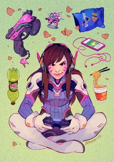 She's working on her New Year's resolutions. I, for my part, have been working on prints for a con that is approaching DANGEROUSLY fast…  But I finally got to draw something decent of D.Va who is my second most played hero!