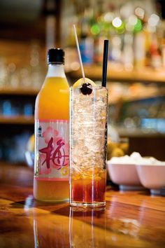 Plum drinking vinegar-so good Party Drinks, Cocktail Drinks, Alcoholic Drinks, Beverages, Cocktails, Japanese Drinks, Japanese Food, Sour Plum, Kitchens