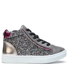 Steve Madden Kids' Jmixalot High Top Sneaker Pre/Grade School Shoes (Pewter  Multi)
