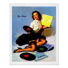 Pin Up Girl Vintage, Retro Pin Up, Music Illustration, Up Music, Girl Posters, Vintage Music, Pin Up Girls, Vintage Shops, Fine Art