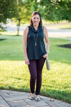 Early Fall Outfit Inspo: Charcoal + Plum featuring Two By Vince Camuto Sleeveless Cowl Neck Top, Paige Verdugo Ankle Skinny Jeans in Aubergine, Tory Burch Heidi Ballet Flats and Convertible Leather Crossbody Bag | Jo-Lynne Shane | Wearable Fashion for Women Over 40