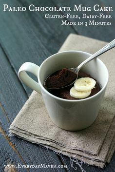Chocolate Mug Cake {Paleo} It is as easy as mixing up some ingredients and tossing in the microwave for 3 minutes. That's all there is to it! Seriously. Unfortunately, if you don't have a microwave, y