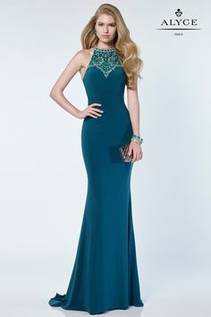 Alyce Paris Prom 2017 Private Collection   Dress Style 1157    Alyce Paris Prom 2017 Forest green jersey gown with an embellished halter top and strappy open back.