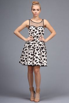 @11Main Minuet Black and White Polka Heart Dress: •Black and white polka dot heart dress •Size Small length from shoulders ...