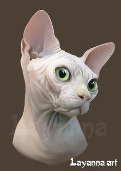Портрет кошки породы Канадский Сфинкс.Это моя любимая порода и я часто их рисую. Могу нарисовать портрет вашего питомца. Или питомца ваших друзей и родственников - это прекрасный, неожиданный и всегда радостный подарок!  layanna@layanna.ru кот, питомец, животное, рисунок, заказать, подарок, Лаянна, cat, sphynx , sphinx , gato, gata, gatito, dibujo, kitten, Layanna, черный кот, рисунок на футболке.