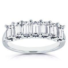 Image result for Annello by Kobelli 14k White Gold 1 3/4ct TDW Emerald Cut Diamond Semi Eternity Wedding Band