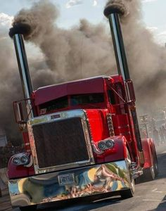 www.DieselTruckGallery.com Red Big Rig Largecar smoke. Probably my favorite ever... - LGMSports.com