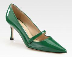 mary jane kitten heels   Manolo Blahnik Green Patent Leather Point Toe Mary Jane Pumps #manoloblahnikmaryjanes