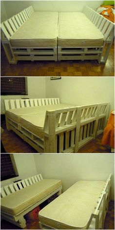 Sofa cum bed is something that serves as a sofa in the daytime and a bed at night time; it is amazing when a person has wood pallets at home because reshaping can turn them into a sofa cum bed. It is beneficial to invest some time creating a sofa cum bed with the pallets because it will not turn out expensive and it will help in saving the space as it occupies the space of a sofa when separated and fulfills the need of bedding when joined.