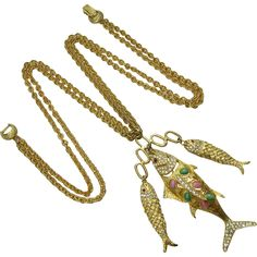 1960s DeNicola Statement Necklace Jeweled Fish Drops Chinoiserie from modemodern on Ruby Lane