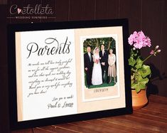 Parent Wedding Gift, Personalized Thank You Gift for Mom Dad ...