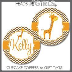 Personalized Giraffe in Brown and Orange Cupcake Toppers or Gift Tags for Baby Showers by HeadsUpGirls, $8.00