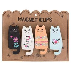 These colorful cat design magnet clips will hold important pictures, papers, invitations and more on your fridge while creating happiness every time you see them! These magnet clips come packaged as a set of four and are made of wood. Crazy Cat Lady, Crazy Cats, I Love Cats, Cool Cats, Animal Gato, Diy Inspiration, Cat Decor, Cat Accessories, Cat Colors