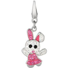Sterling Silver Crystal Bunny Charm (Pink) ($53) ❤ liked on Polyvore featuring jewelry, pendants, pink, lobster claw charms, sterling silver jewelry, bunny charm, bracelet charms and womens jewellery