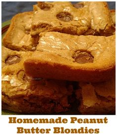 Homemade Peanut Butter Blondies Recipe - From Val's Kitchen