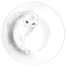 "Mixed Dinner Plate Set of Four. A stint in the hospital left Scottish pop star Edwyn Collins with the ability to only say four phrases, ""yes"", ""no"", ""the possibilities are endless"", and ""Grace Maxwell."" During that period he drew these birds, seen here on Elli Popp's fine china.     $180.00"