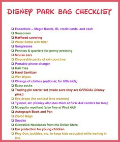 Walt Disney vacation planning tips -- What should I pack in my theme park bag? Get a free printable checklist for kids and adults of what to pack for a day at the Magic Kingdom and other Disney parks. Packing List For Disney, Disney World Packing, Disney World Vacation Planning, Disneyland Vacation, Walt Disney World Vacations, Trip Planning, Disney Bound, Disney Travel, Disney Vacation Surprise
