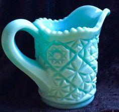 Vintage  Fostoria  Blue Milk Glass Creamer pitcher #Fostoria