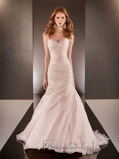 Fit and Flare Cross Sweetheart Neckline Ruched Bodice Wedding Dresses - Dressaleonline.com