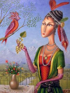 Zurab Martiashvili was born in 1982 in Georgia. His unique painting styl. Unique Paintings, Colorful Paintings, Paintings For Sale, Ukraine, Karla Gerard, Funny Birds, Human Art, Naive Art, Artists