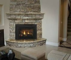 Corner Stone Fireplace | Love This For A Corner #fireplace! #stone .