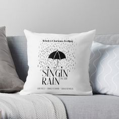 'Singin' in the Rain Movie Poster' Throw Pillow by NordicStudio The Rain Movie, Framed Prints, Canvas Prints, Art Prints, Modern Typography, Designer Throw Pillows, Pillow Design, Glossier Stickers, Floor Pillows