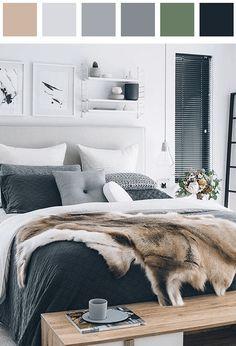 Bedroom color palette - black cornflower-blue cyan grayish-cornflower-blue light-amber