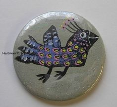 WILDER VOGEL von Herbivore11 Unikat Button Vögel Bild kleine Kunst für unterwegs