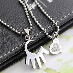 Love Hand and Heart Titanium Steel Couples necklace