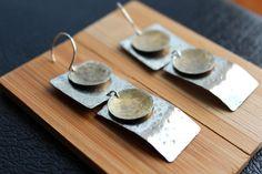 Long silver earrings, mixed metal jewelry, modern earrings, handcrafted jewelry. $28.00, via Etsy.