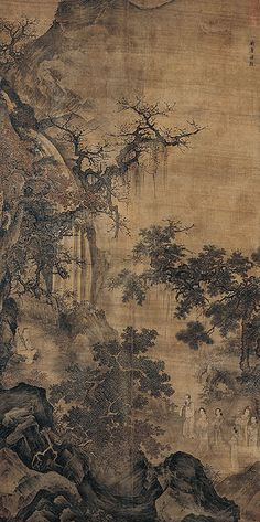 Xie An at East Mountain : Attributed to Lou Guan (active mid- to late 13th century) China; Southern Song (1127-1279) to Yuan (1279-1368) period, late 13th century  Hanging scroll; Ink and slight color on silk
