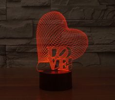 7colors changing LOVE heart colorful 3D gradient light touch switch visual illusion lamp LED