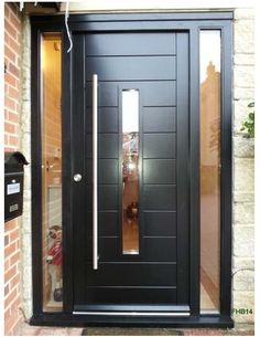 modern-front-doors-uk-bespoke-contemporary-door-and-frame-with-fully-glazed-sidelights-factory-spray-painted-black-delivered-all-areas-and-installation-in-ma-modern-entrance-doors-uk. Modern Entrance Door, Modern Front Door, House Front Door, Front Door Design, Front Door Colors, Entrance Doors, Black Front Doors, Wood Front Doors, Black Door