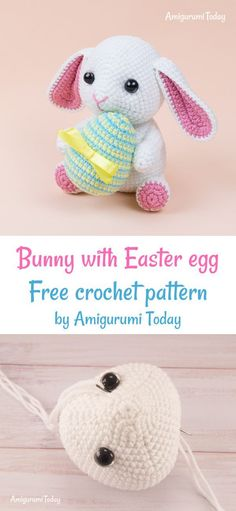 Crochet Amigurumi Bunny Bunny with Easter egg free crochet pattern by Amigurumi Today - Make Easter a little more magical with this cute lop-eared amigurumi bunny! Crochet it today with our step-by-step bunny pattern! To crochet this amigurumi Knit Or Crochet, Crochet Toys, Free Crochet, Crochet Animals, Free Knitting, Easter Bunny Crochet Pattern, Crochet Patterns Amigurumi, Stitch Head, Popular Crochet