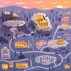 Two Dots Games Illustrated Maps by Alex Mathers Two Dots Game, Dots Design, Design Art, Game Ui Design, App Design, Futuristic City, Treasure Maps, Illustrations And Posters, Me On A Map