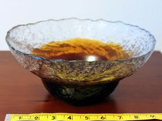 Vintage Amber Glass Kiviset Bowl Signed by by FinntageFromFinland